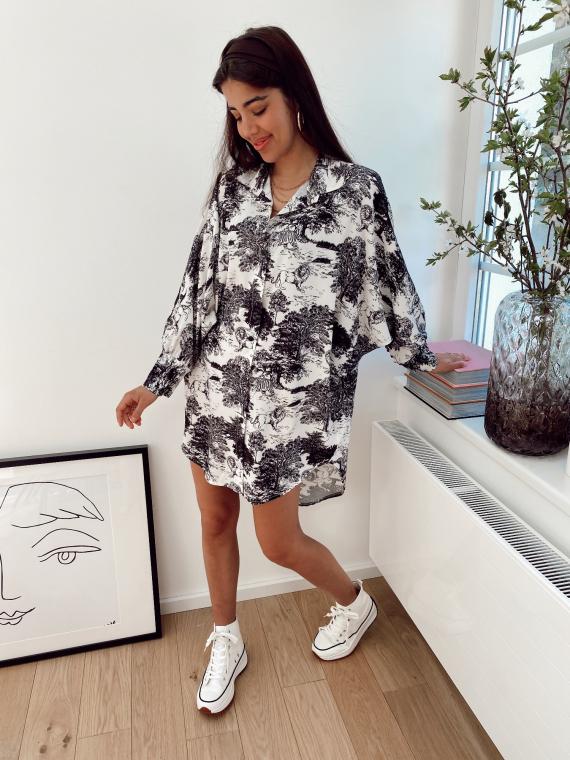 Black PIPIER toile de jouy shirt dress