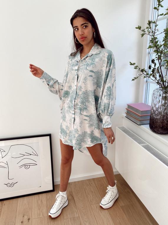 Robe chemise PIPIER toile de jouy vert d'eau