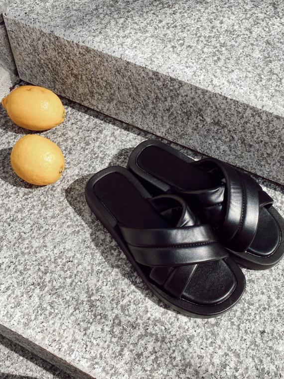 Black LUPES platform sandals