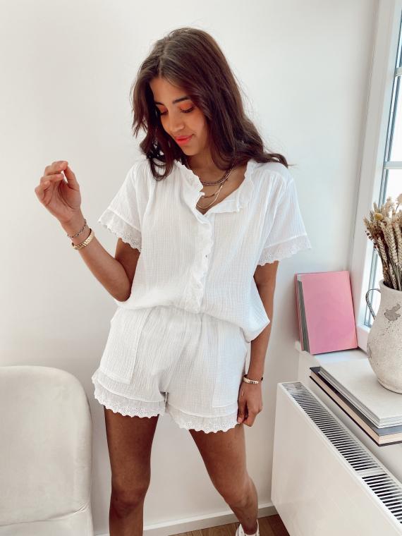 Ensemble chemise et short gaze de coton KOUSMI blanc
