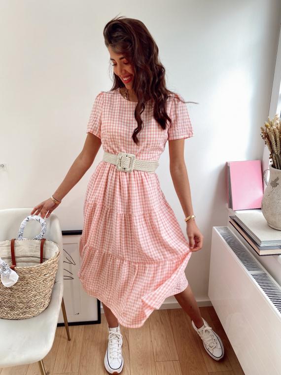 Long gingham dress DAMON in pink