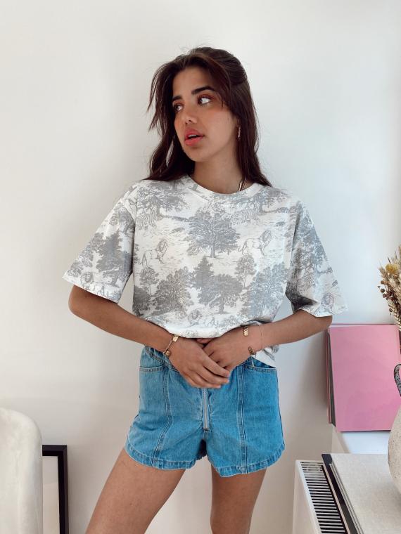 T-shirt oversize toile de jouy YELDA gris