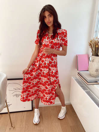 Long floral print dress PASSIONE in red