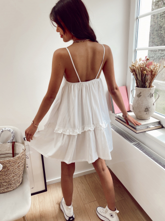 Flared mini dress with light straps PRINSE in white