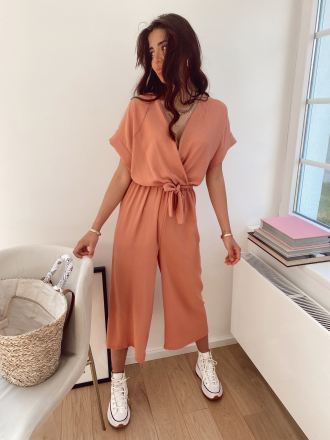 Flowing jumpsuit LEAVES in terracotta