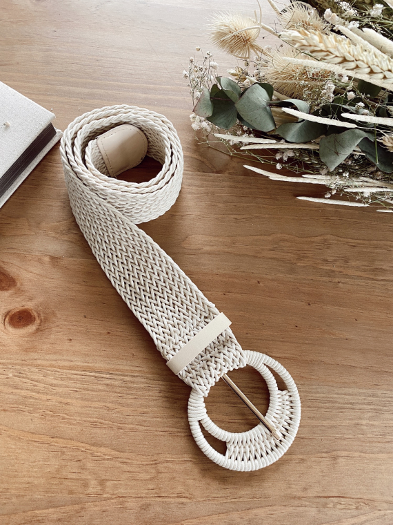 Braided belt with round buckle TUSCAN