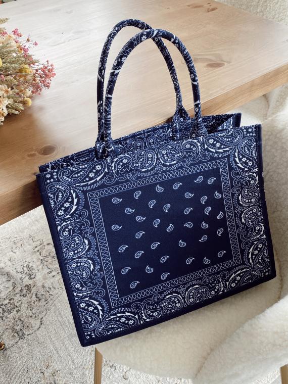 Shopper bag BANDANA in navy blue