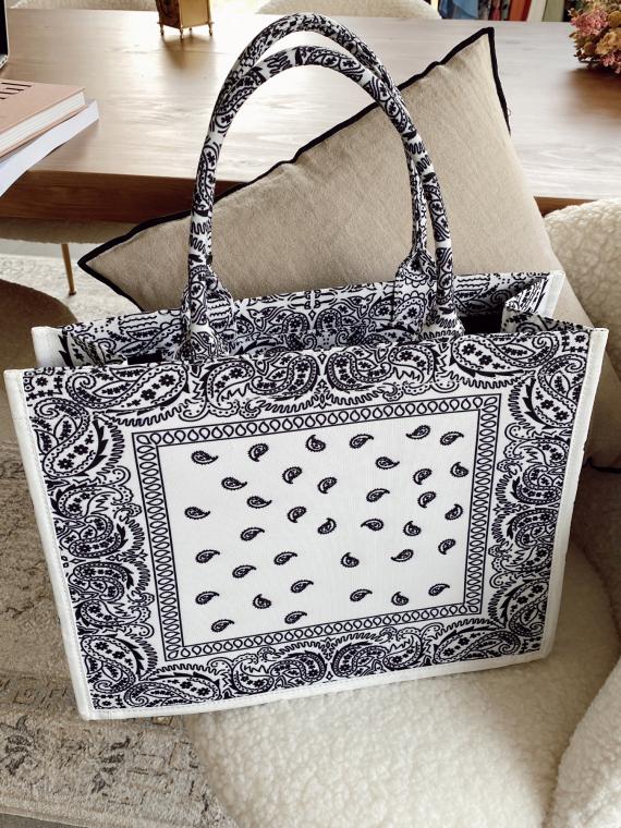 Shopper bag BANDANA in white