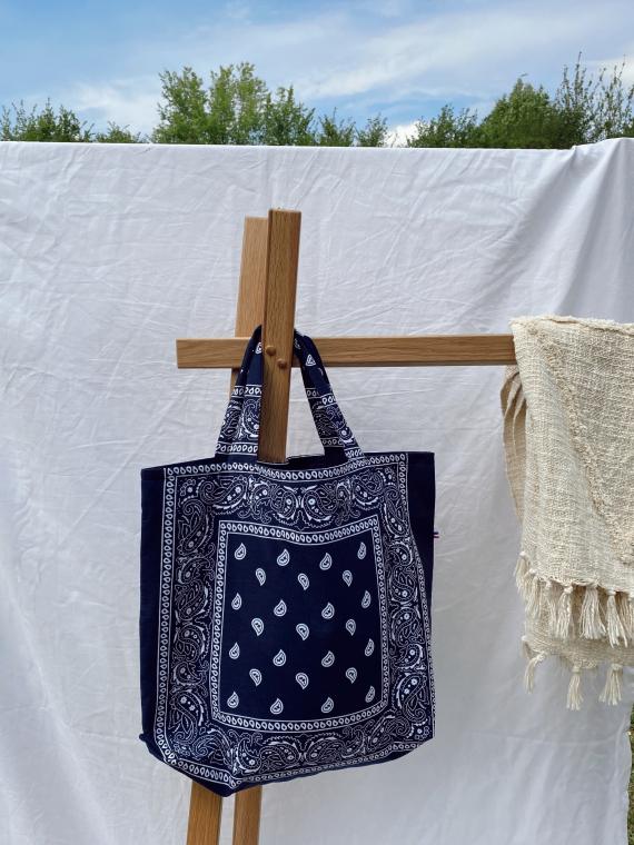 Tote bag BANDANA in navy blue