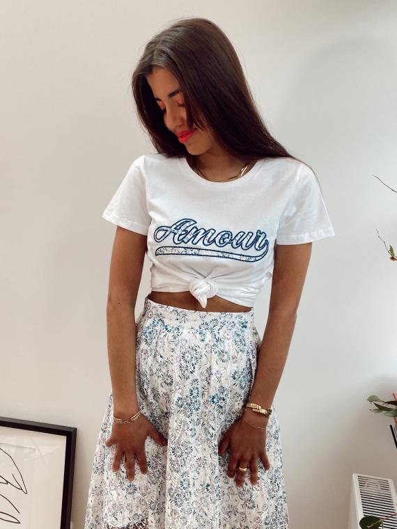 T-shirt à inscription «amour» LACE bleu