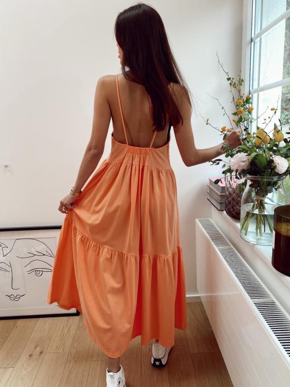 Robe longue dos échancré MADONE orange