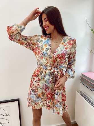 Floral wrap dress DUA in ecru