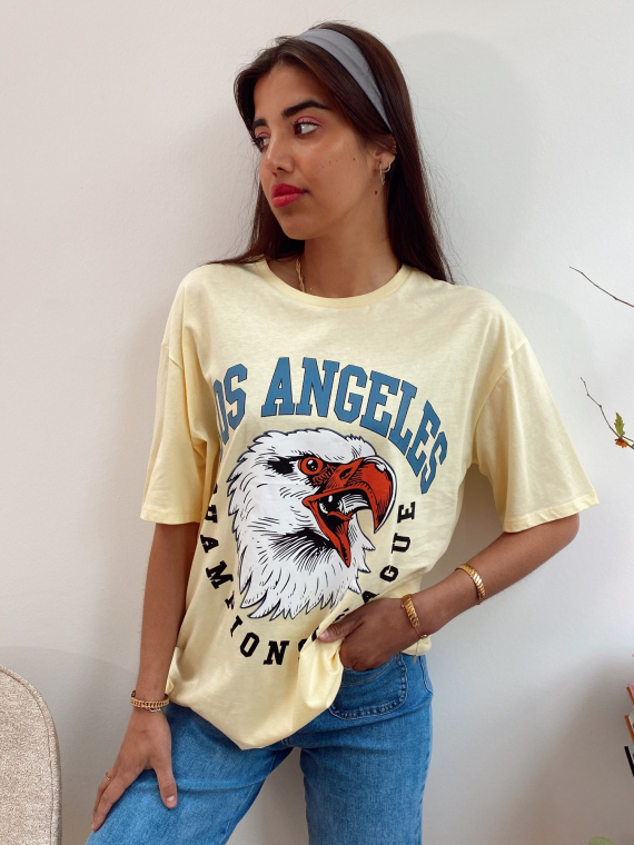 T-shirt oversize LOS ANGELES jaune