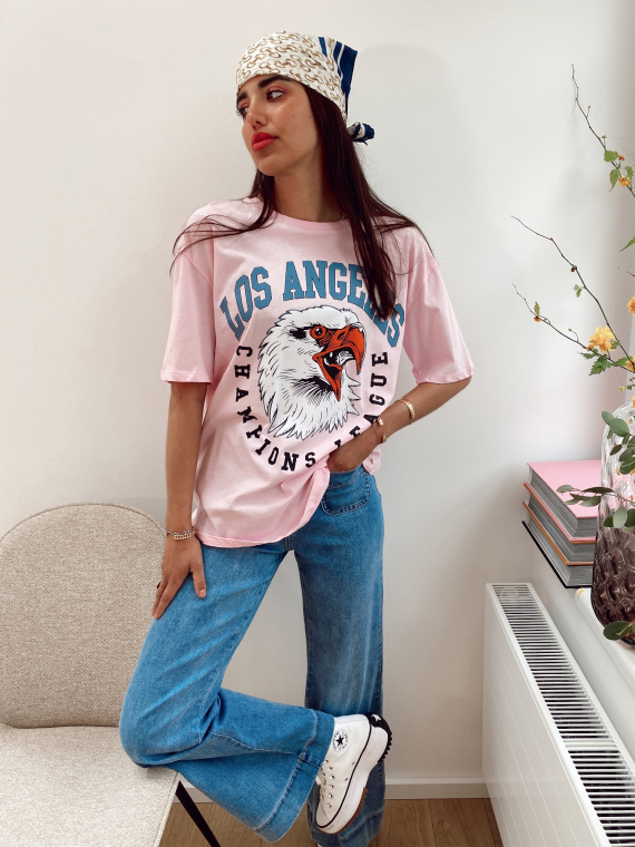 T-shirt oversize LOS ANGELES rose