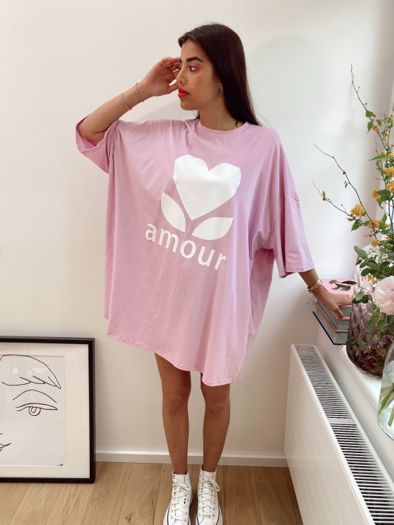 Robe t-shirt oversize AMOUR lilas