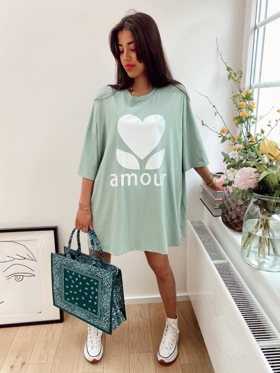 Robe t-shirt oversize AMOUR vert d'eau