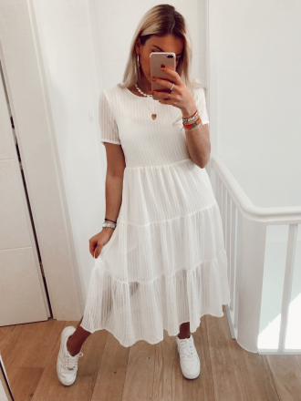 Tone on tone striped dress CHICA in white