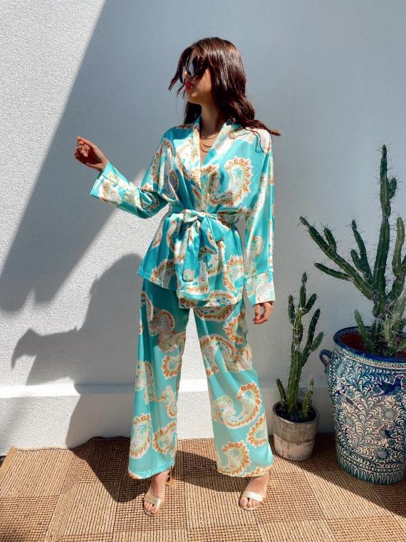 Ensemble kimono et pantalon large satiné COLBY turquoise