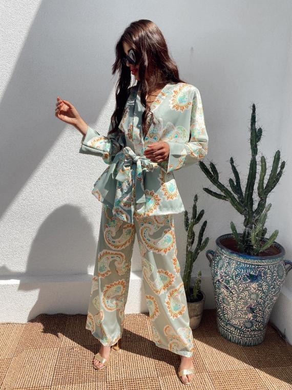 Ensemble kimono et pantalon large satiné COLBY kaki clair