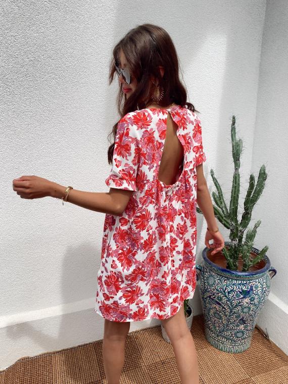 Robe combi-short fleurie MILLIE rose
