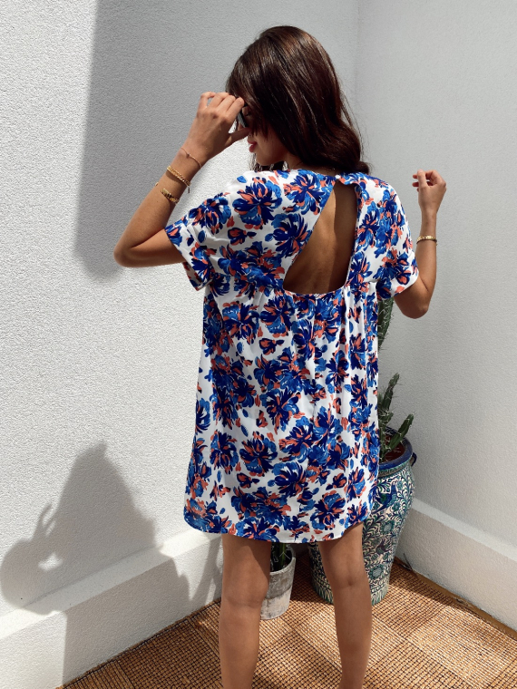 Robe combi-short fleurie MILLIE bleue