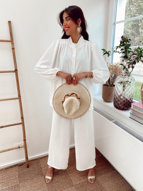 Ensemble fluide chemise et pantalon NESSA blanc