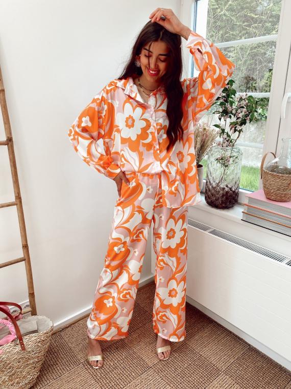 Ensemble chemise et pantalon imprimés LENON orange