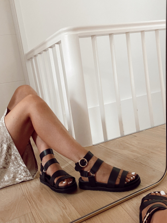 Sandales plateforme bride cheville PERCY noires