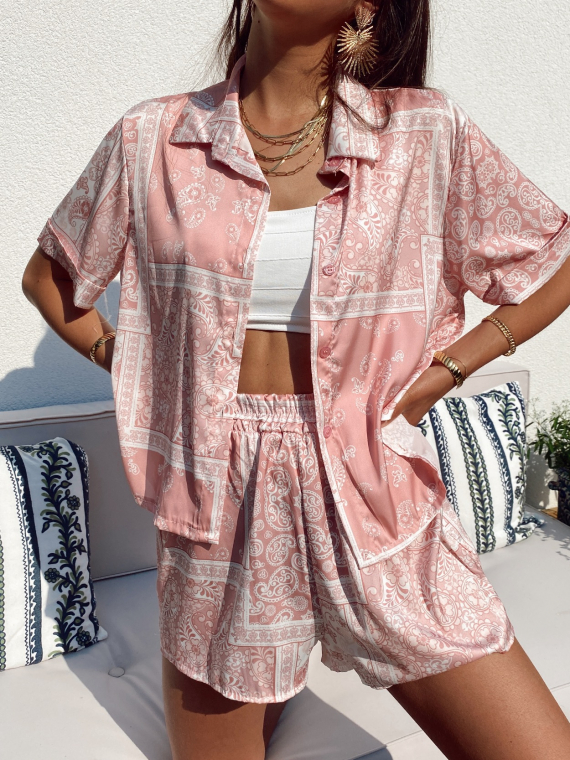 Paisley print set blouse and shorts MURPHY in pink