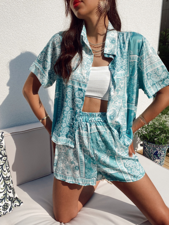 Paisley print set blouse and shorts MURPHY in turquoise