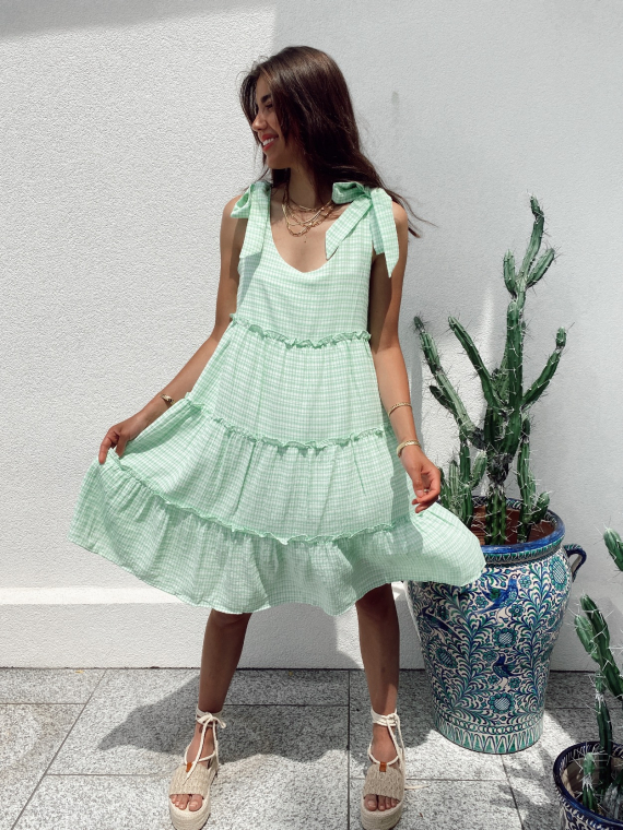 Gingham dress tie straps MELLOW in green