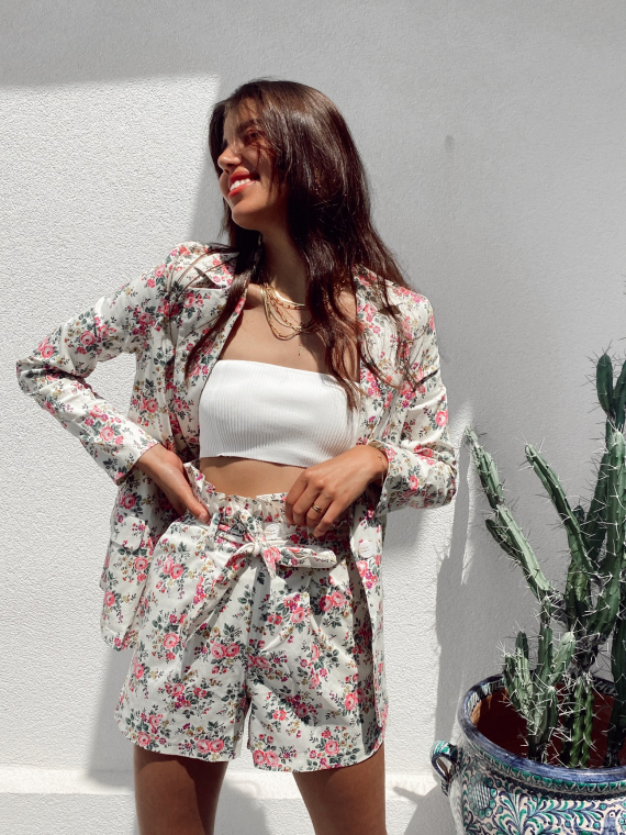 Floral co-ord blazer and shorts LORENZO in white