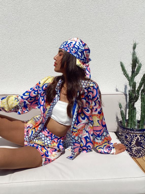 3 piece set blouse shorts headscarf NOVA in blue