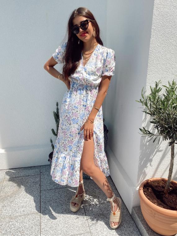 Long floral dress puff sleeves FLOYD in blue