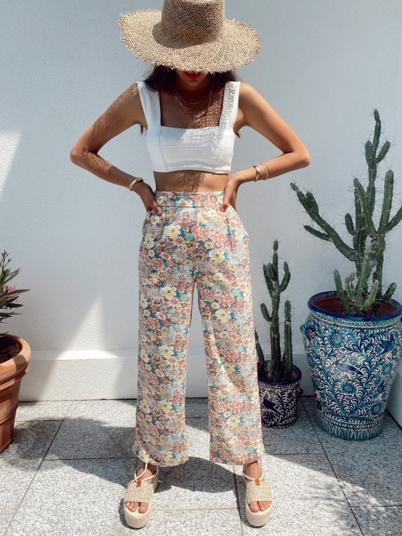 Floral print flowy trouser COLOMB in old rose