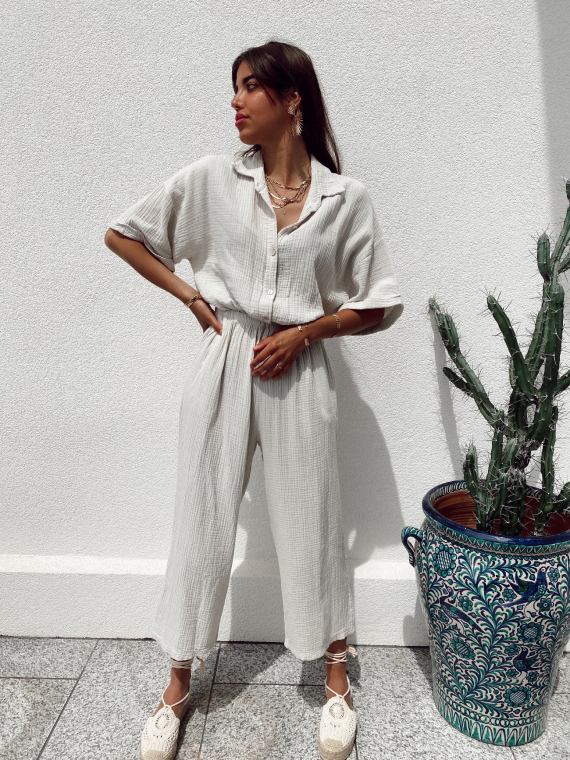Cotton gauze jumpsuit PAPER in beige