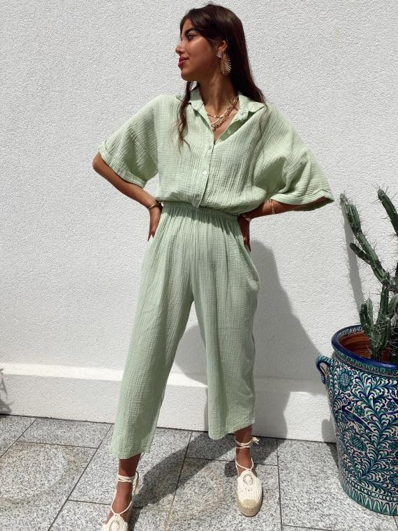 Cotton gauze jumpsuit PAPER in sage green