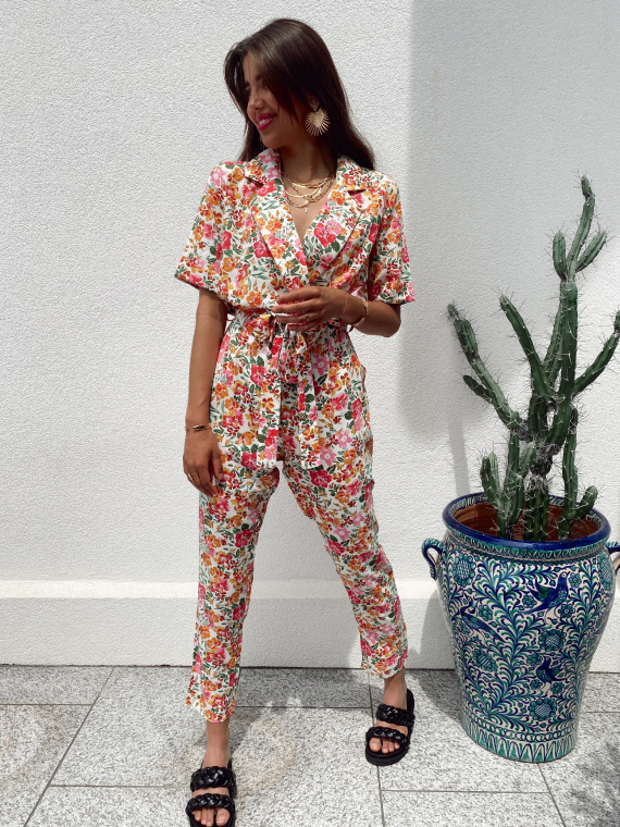 Floral print jumpsuit JUNEY in white
