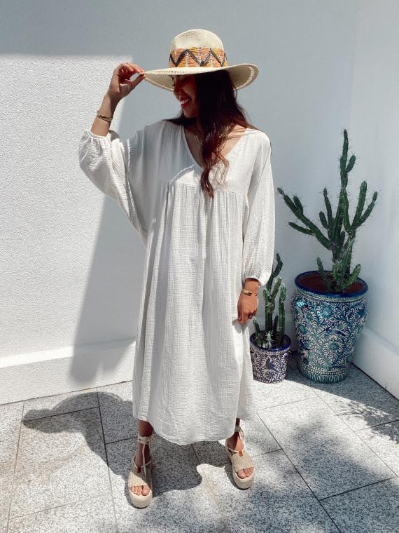 Long babydoll cotton gauze dress MAGICA in beige