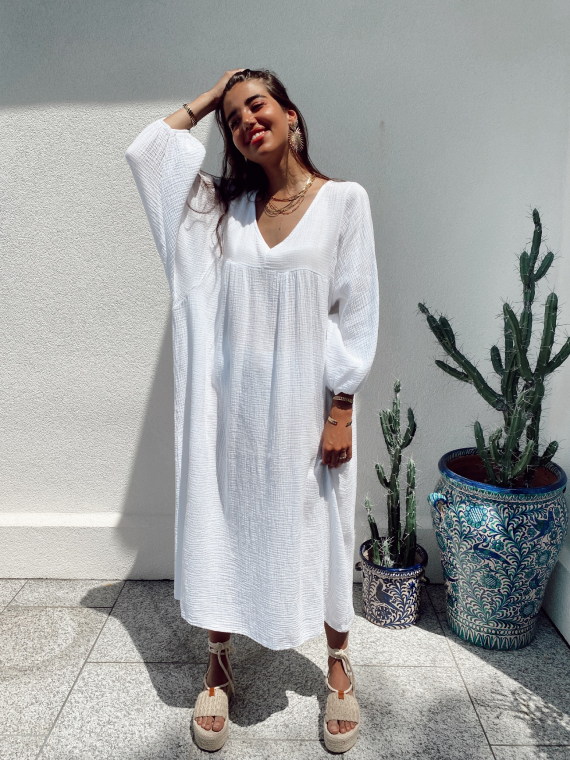 Long babydoll cotton gauze dress MAGICA in white