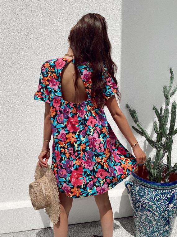 Robe combi-short grandes fleurs FLORINE noire