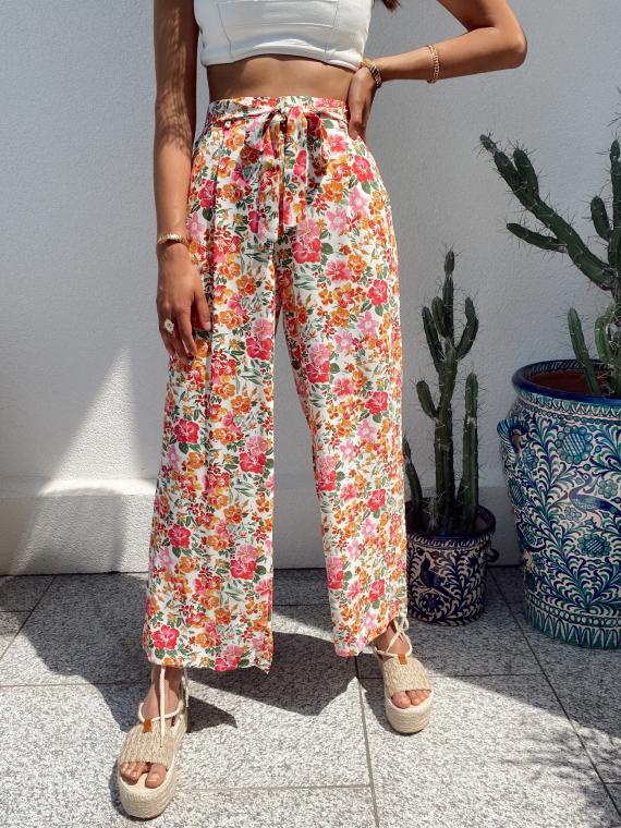 Pantalon large fluide à fleurs GORDES blanc