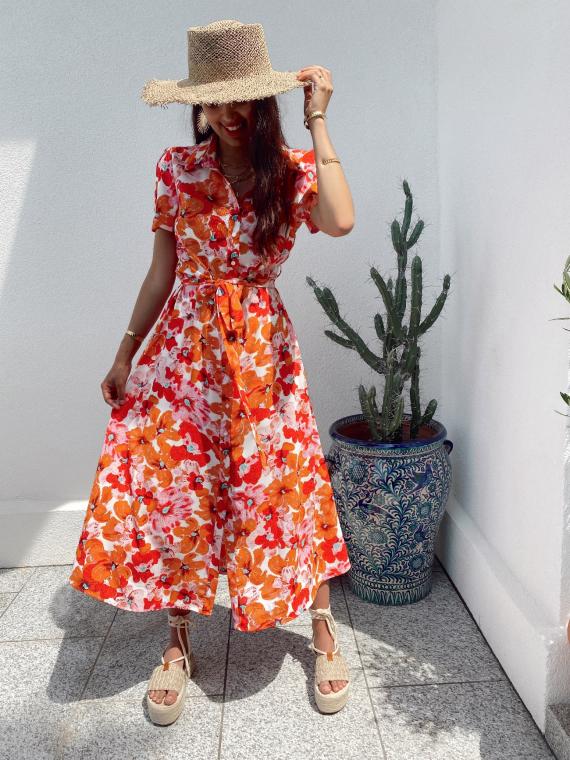 Robe longue fleurie MELON orange