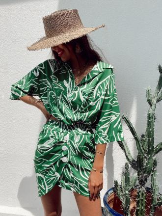 Ensemble chemise et jupe à imprimé feuilles LUZIO vert