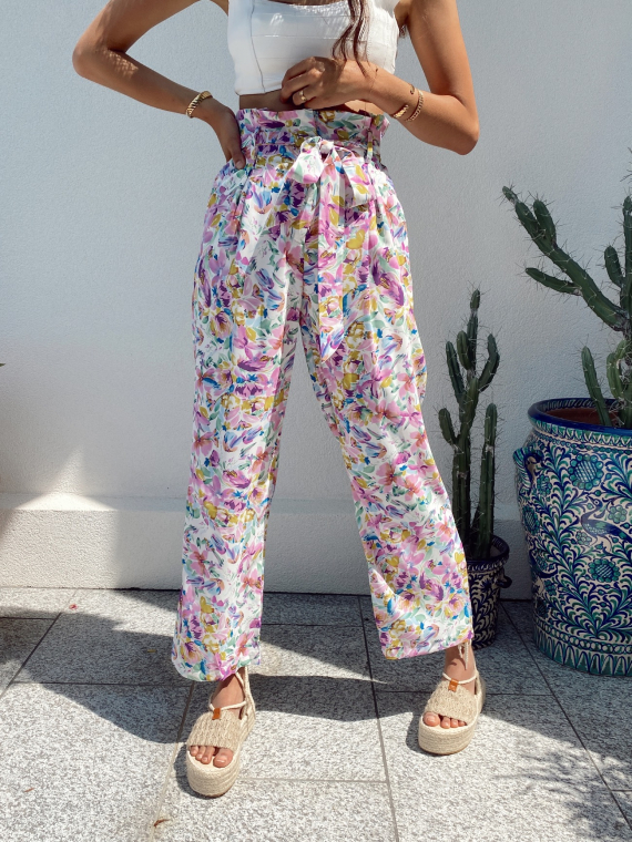 Floral trouser tie waist PLAYAS in white