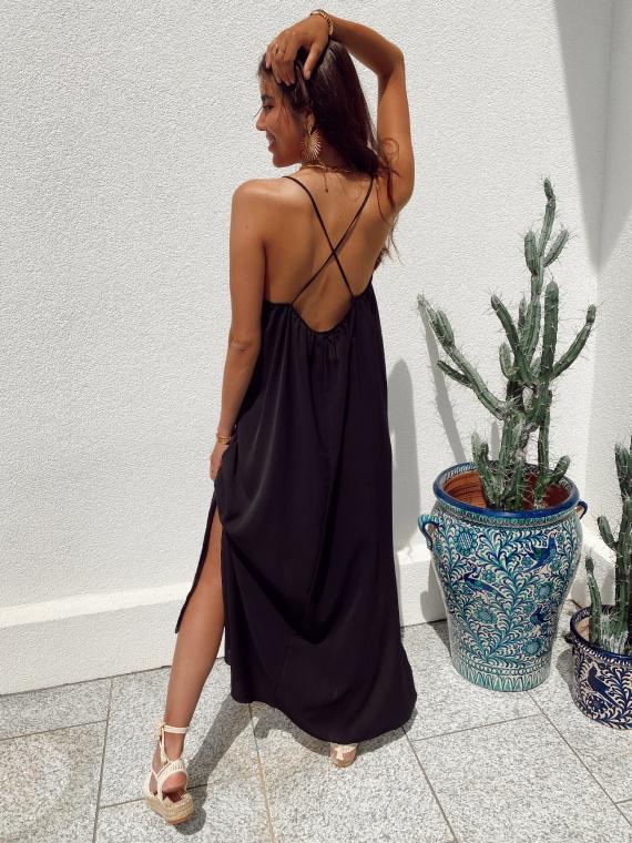 Long dress crossed straps JANELLE in black
