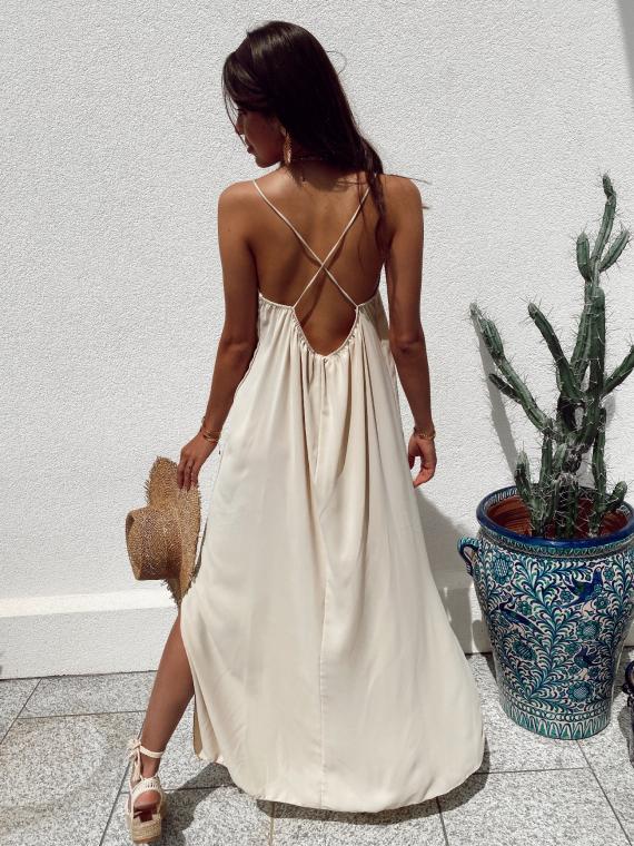 Long dress crossed straps JANELLE in beige